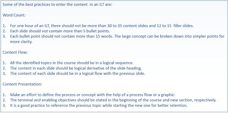 Best Practices of ILT